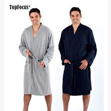 Long Sleeve Kimono Wrap Organic Cotton Jersey Bath Robe Mens Sleepwear