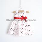 100% cotton girls fancy polka dot bow party dress