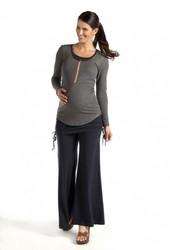 Long sleeved grey rayon fabric breastfeeding blouse