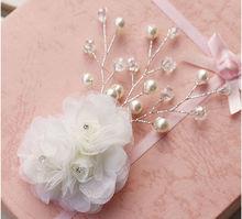 Handcraft pearl Rhinestone lace bride hairpin headdress wedding hair accessories bride crown white color
