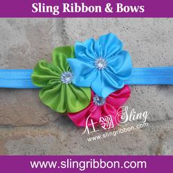 Beautiful Ribbon Floral Baby Infant Elastic Headband
