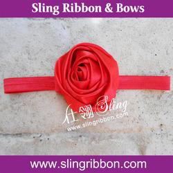 Red Ribbon Rose Flower Baby Infant Elastic Headband