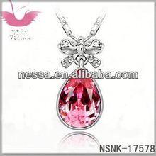 E78772 Austrian Elements Crystal Necklace - Keyed clover (purple + rose gold)