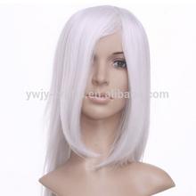 Barato sintético longo branco Cosplay mulher perucas
