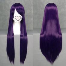 High Quality Heat Resistant Fiber Long Dark Purple Cosplay Wig