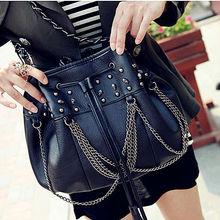 fashion handbags pu bucket shoulder bags cool skull bags E058