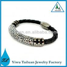 Leather Wrap Wristband Rhinestone Magnetic Bracelet