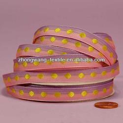 3/8 inch Festive Fun Single Yellow Polka Dot on Lavender and Pink Jacquard Ribbon