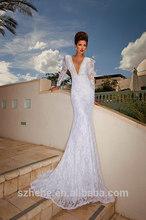 JM.Bridals CY2394 New model Shealth V neck Beaded long sleeve lace wedding dresses