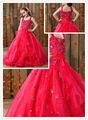 ht112spaghetti correa de organza vestido de bola de cuentas la longitud del piso cenicienta vestidos de flores niña