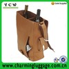 portable leather wine carrier