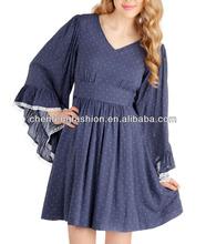 Navy Polka Dot Plus Size Long Sleeve Dresses