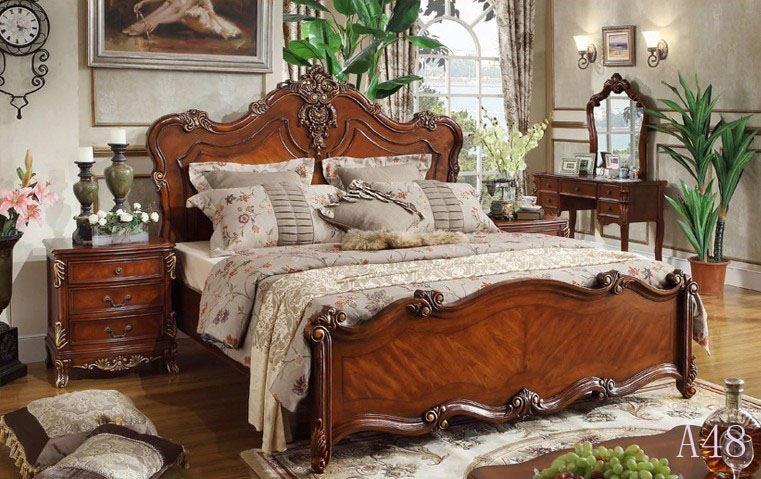 Franse Slaapkamer Meubels : Franse hout antiek bed-slaapkamer sets ...