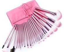 22 pcs Pro Makeup Brush Set Cosmetic Brush Kit Makeup Tool Nylon Make up Brushes with Pink Roll up Bag