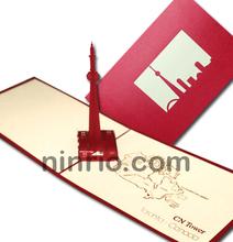 CN Tower card greeting card pop up card 3D card handmade card
