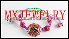 2014 red fake adjust weave Trendy basketball crystal Sports Jewelry bracelet