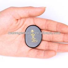 Wholesale Black Chakra Stone with inspirational words/black precious stone for Sale
