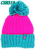 Knitted fluorescence hat with top ball