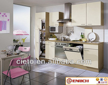 Prefab sample small kitchen designs with black lacquer painting