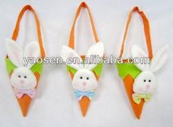Easter bunny felt carrot bag