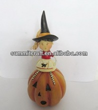Creative antique 2014 craft wholesale artificial pumpkins with baby little witch