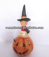 Bayby witch and blck cat sitting antique craft wholesale artificial pumpkins