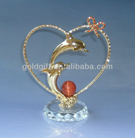 gold dolphin in crystal for wedding gifts
