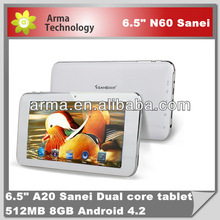 Sanei N60 6.5inch Tablet PC Allwinner A20 1.6ghz Dual Core with Android 4.2 Jelly Bean 512MB 8GB 480x800 WIFI Camer