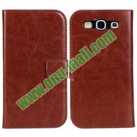 Crazy Horse Texture Flip Case for Samsung Galaxy S3 I9300 with Card Slots and Holder
