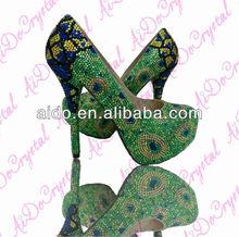 New Animal Green Peacock Feather Pattern High Heel Pumps for Women; High Heel Platform Shoes;Handmade Women Shoes