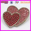 Rojo y rosa broches de piedras preciosas/doble corazón amante #5809 broche