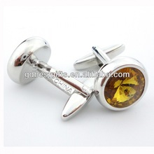 Chinese style yellow crystal cufflinks with fantastic design