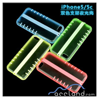 Luminous Two color Hybrid Dirt Dust Proof Hard Matte Case with Kickstand For iPhone5C,glow in the dark mobile phone case