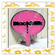 Wholesale custom Milk Clothing Company Logo PINK GLITTER Hat Pin Lapel Badge Brooch pin