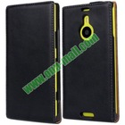 Vertical Flip Genuine Leather water proof case for nokia lumia 1520 with up and down style