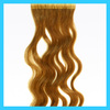 Wholesale cheap price Brown color skin weft pu glue wavy Russian virgin remy human hair double side tape hair extensions