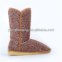 2015 Women Winter Warm flat heels Snow Leopard Boots buskin Faux Suede Mid-Calf shoesWomen Winter Warm flat heels Snow Leopard B