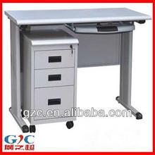 Modern Steel Computer Desk with Three Drawer Cabinet