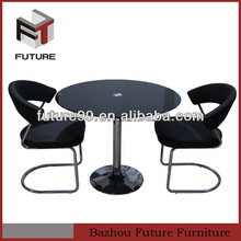 round glass table chrome legs cafe dining set