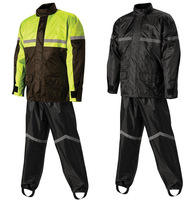 High visibility yellow rain suit riding motorcycle raincoat