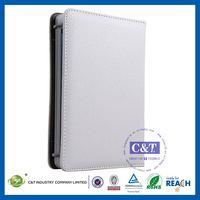 C&T Foldable folio white wallet portfolio for ipad mini pu leather stand case
