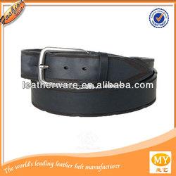 Cowhide steel / alloy buckle black genuine leather belt for men