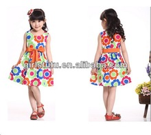 Children Clothing 2014 Girls Flower Dress Summer Casual Printed Princess Party Dress Kid's Clothes Dress