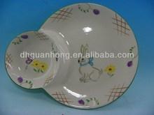 round easter bunny ceramic cake plate