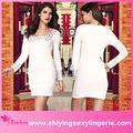 Branco plissada Studded mangas compridas vestido de noite