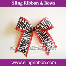 Zebra Red Grosgrain Cheerleading Bow & Pony Tail.