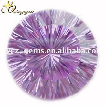 Millennium cut cubic zirconia round gemstones lavender color