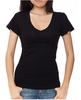 large wholesale ladies plain short sleeve t shirt v-neck cotton spandex, multiple colors