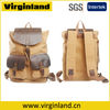 1819 Fashion Khaki Canvas Genuine Leather Patchwork Travel Bag for Backpack and Shoulder