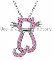 Popular Summer Season Sterling Silver AAA Pink CZ Cat Pendant hawaiian jewelry wholesale